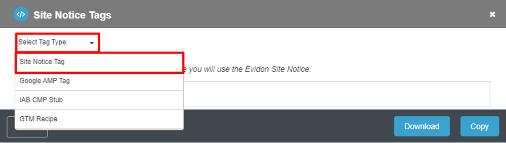 Site Notice Tag option