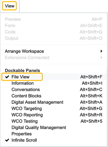 Figure 3- Click on panel name to show or hide.  Checkmark indicates panel is open.