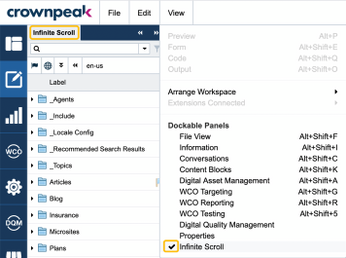 Figure 2- Checkmark indicates a panel is open